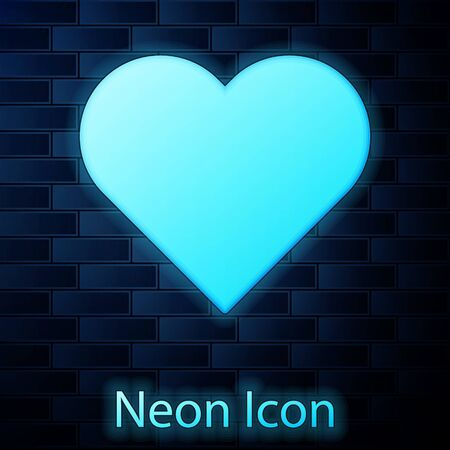 Glowing neon Heart icon isolated on brick wall background. Romantic symbol linked, join, passion and wedding. Valentine day symbol. Vector Illustration 일러스트