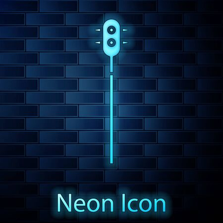 Glowing neon Medieval chained mace ball icon isolated on brick wall background. Medieval weapon. Vector Illustration Ilustrace