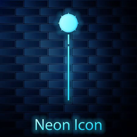 Glowing neon Medieval chained mace ball icon isolated on brick wall background. Medieval weapon. Vector Illustration Reklamní fotografie - 137884963