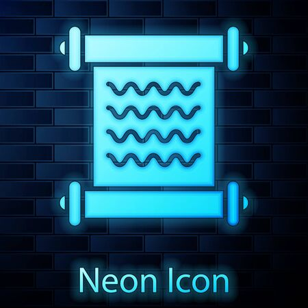 Glowing neon Decree, paper, parchment, scroll icon icon isolated on brick wall background. Vector Illustration