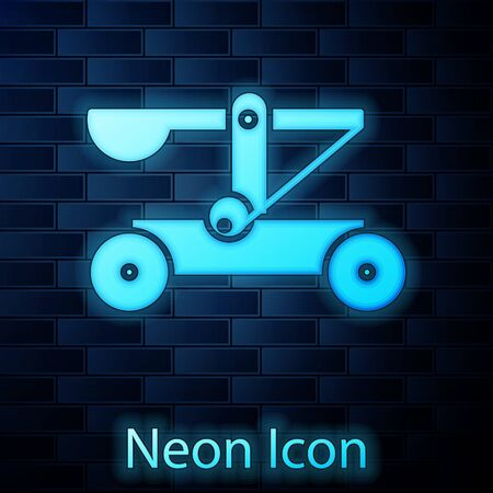 Glowing neon Old medieval wooden catapult shooting stones icon isolated on brick wall background. Vector Illustration