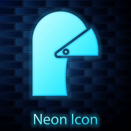 Glowing neon Medieval iron helmet for head protection icon isolated on brick wall background. Vector Illustration