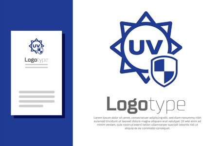 Blue UV protection icon isolated on white background. Sun and shield. Ultra violet rays radiation. SPF sun sign.