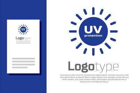 Blue UV protection icon isolated on white background. Ultra violet rays radiation. SPF sun sign.