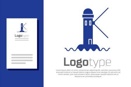 Blue Lighthouse icon isolated on white background.