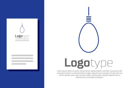 Blue Gallows rope loop hanging icon isolated on white background. Rope tied into noose. Suicide, hanging or lynching. Logo design template element. Vector Illustration
