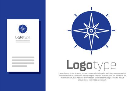 Blue Wind rose icon isolated on white background. Compass icon for travel. Navigation design. Logo design template element. Vector Illustration