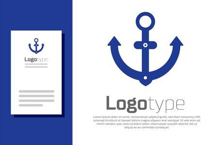 Blue Anchor icon isolated on white background. Ilustracja