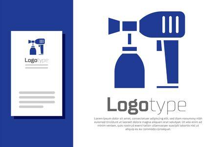 Blue Paint spray gun icon isolated on white background. Logo design template element. Vector Illustration
