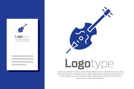 Blue Violin icon isolated on white background. Musical instrument. Ilustrace