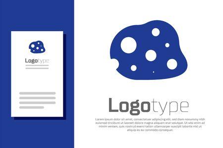Blue Asteroid icon isolated on white background. Ilustrace