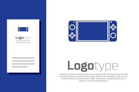 Blue Portable video game console icon isolated on white background. Gamepad sign. Gaming concept. 矢量图像