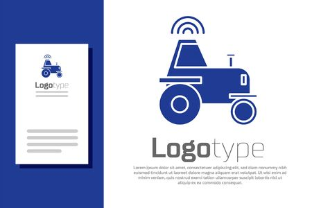 Blue Self driving wireless tractor on a smart farm icon isolated on white background. Smart agriculture implement element. Ilustrace