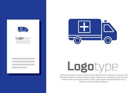 Blue Ambulance and emergency car icon isolated on white background. Ambulance vehicle medical evacuation.