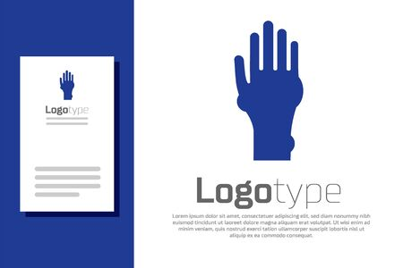 Blue Hand with psoriasis or eczema icon isolated on white background. Concept of human skin response to allergen or chronic body problem.