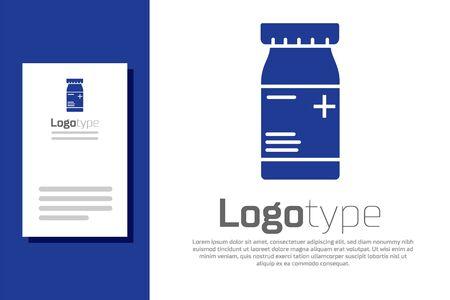 Blue Medicine bottle and pills icon isolated on white background. Bottle pill sign. Pharmacy design. Vector Illustration