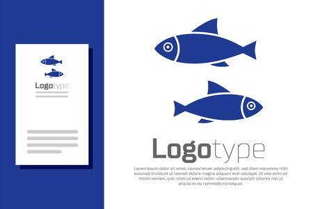 Blue Fish icon isolated on white background. 向量圖像