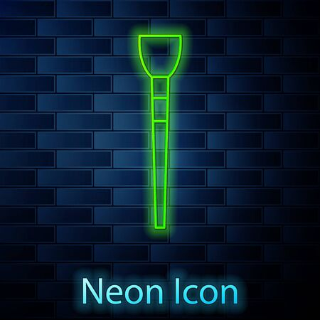 Glowing neon line Makeup brush icon isolated on brick wall background. Vector Illustration Vektorové ilustrace