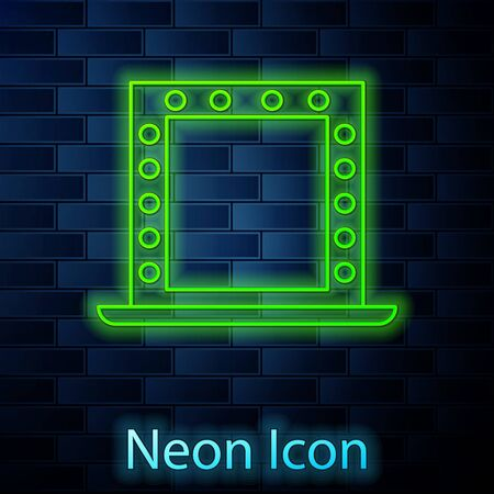 Glowing neon line Makeup mirror with lights icon isolated on brick wall background. Vector Illustration 向量圖像