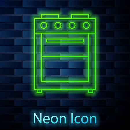 Glowing neon line Oven icon isolated on brick wall background. Stove gas oven sign. Vector Illustration  イラスト・ベクター素材