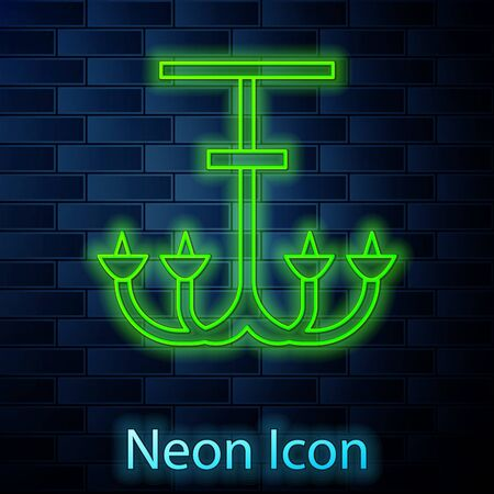 Glowing neon line Chandelier icon isolated on brick wall background. Vector Illustration