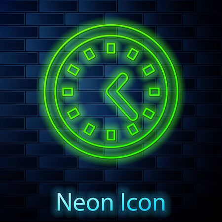 Glowing neon line Clock icon isolated on brick wall background. Time symbol. Vector Illustration