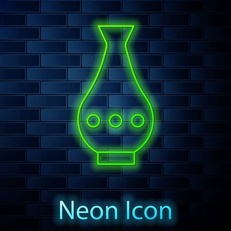Glowing neon line Vase icon isolated on brick wall background. Vector Illustration