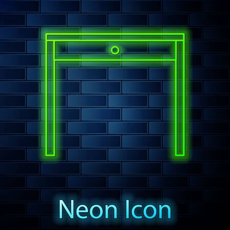 Glowing neon line Wooden table icon isolated on brick wall background. Vector Illustration Ilustrace