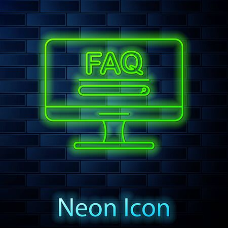 Glowing neon line Computer monitor with text FAQ information icon isolated on brick wall background. Frequently asked questions. Vector Illustration