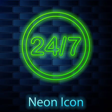 Glowing neon line Clock 24 hours icon isolated on brick wall background. All day cyclic icon. 24 hours service symbol. Vector Illustration