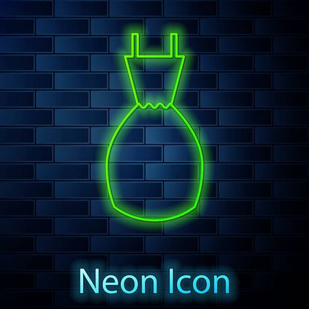 Glowing neon line Woman dress icon isolated on brick wall background. Clothes sign. Vector Illustration