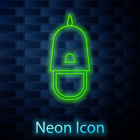 Glowing neon line Police cap with cockade icon isolated on brick wall background. Police hat sign. Vector Illustration Stock fotó - 137896338