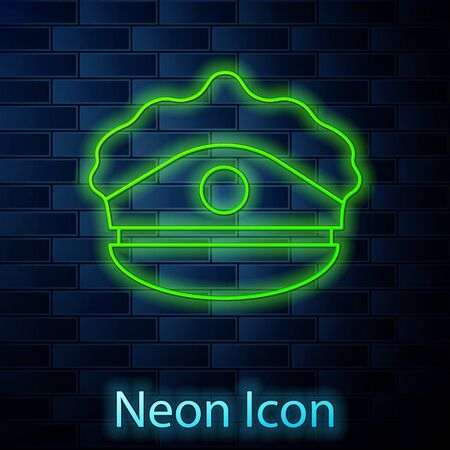 Glowing neon line Police cap with cockade icon isolated on brick wall background. Police hat sign. Vector Illustration