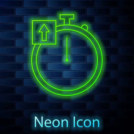 Glowing neon line Stopwatch icon isolated on brick wall background. Time timer sign. Chronometer sign. Vector Illustration