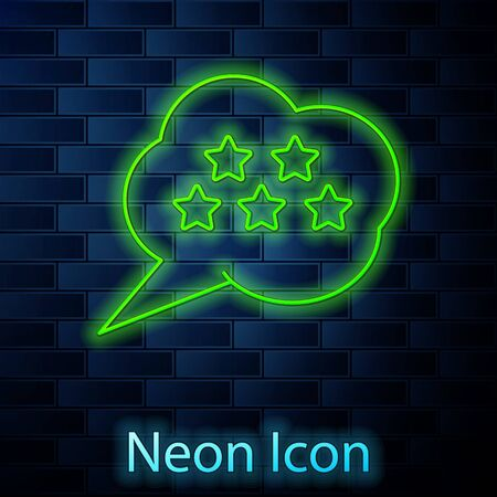 Glowing neon line Five stars customer product rating review icon isolated on brick wall background. Favorite, best rating, award symbol. Vector Illustration Ilustrace