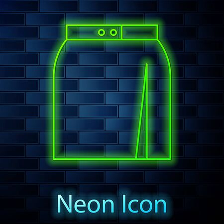 Glowing neon line Skirt icon isolated on brick wall background. Vector Illustration Reklamní fotografie - 137895401