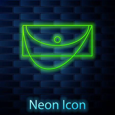 Glowing neon line Clutch bag icon isolated on brick wall background. Women clutch purse. Vector Illustration Illusztráció