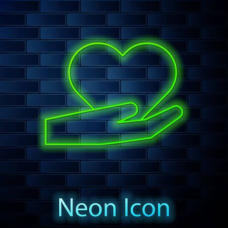 Glowing neon line Heart on hand icon isolated on brick wall background. Hand giving love symbol. Valentines day symbol. Vector Illustration