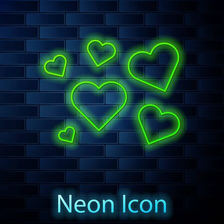 Glowing neon line Heart icon isolated on brick wall background. Romantic symbol linked, join, passion and wedding. Valentine day symbol. Vector Illustration