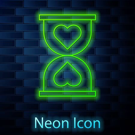 Glowing neon line Heart in the center old hourglass icon isolated on brick wall background. Valentines day. Vector Illustration Çizim