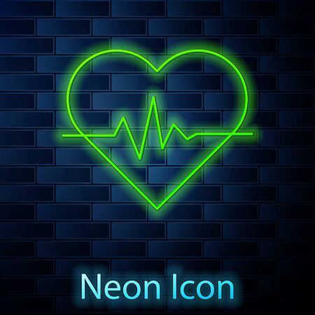 Glowing neon line Heart rate icon isolated on brick wall background. Heartbeat sign. Heart pulse icon. Cardiogram icon. Vector Illustration Illustration