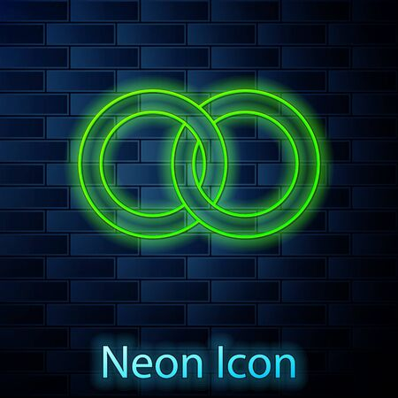 Glowing neon line Wedding rings icon isolated on brick wall background. Bride and groom jewelery sign. Marriage icon. Diamond ring icon. Vector Illustration Stock fotó - 137896865