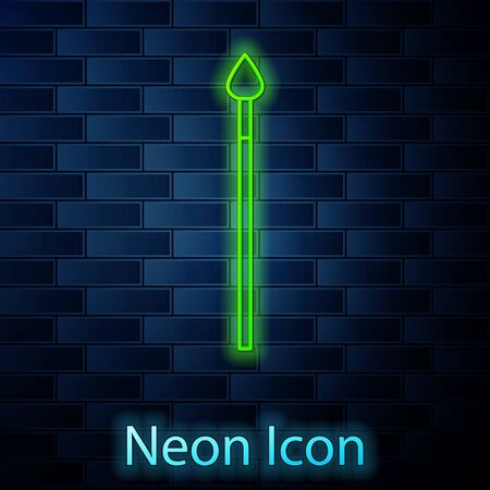 Glowing neon line Medieval spear icon isolated on brick wall background. Medieval weapon. Vector Illustration 向量圖像