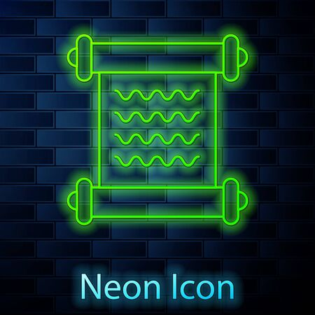Glowing neon line Decree, paper, parchment, scroll icon icon isolated on brick wall background. Vector Illustration