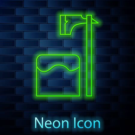 Glowing neon line Executioner axe in tree block icon isolated on brick wall background. Hangman, torturer, executor, tormentor, butcher, headsman. Vector Illustration Illustration