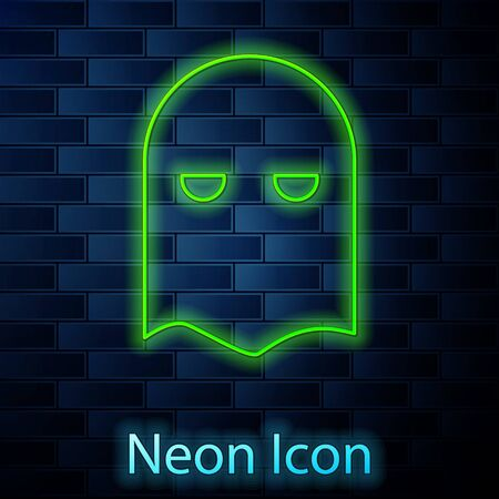 Glowing neon line Executioner mask icon isolated on brick wall background. Hangman, torturer, executor, tormentor, butcher, headsman icon. Vector Illustration