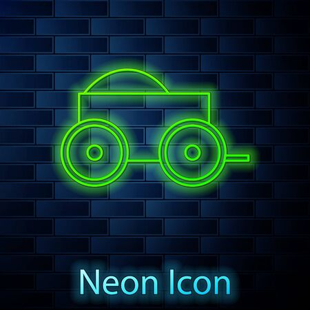 Glowing neon line Wooden four-wheel cart with hay icon isolated on brick wall background. Vector Illustration