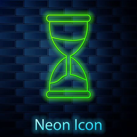 Glowing neon line Old hourglass with flowing sand icon isolated on brick wall background. Sand clock sign. Business and time management concept. Vector Illustration