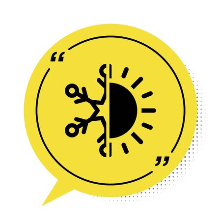 Black Hot and cold symbol. Sun and snowflake icon isolated on white background. Winter and summer symbol. Yellow speech bubble symbol. Vector Illustration