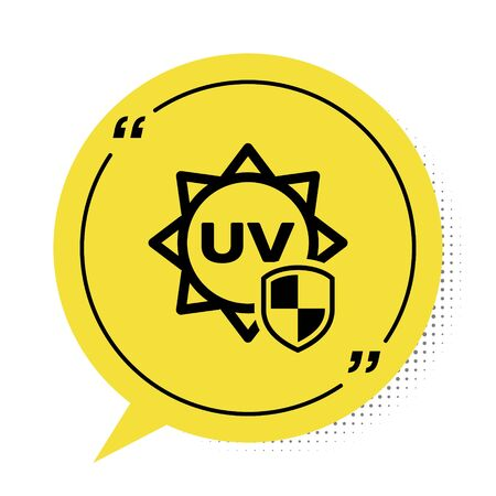 Black UV protection icon isolated on white background. Sun and shield. Ultra violet rays radiation. SPF sun sign. Yellow speech bubble symbol. Vector Illustration
